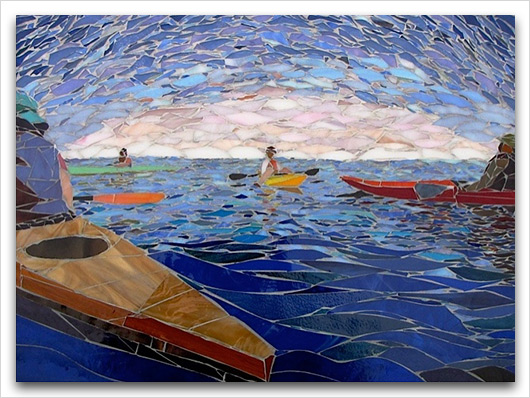 kayaking mosaic